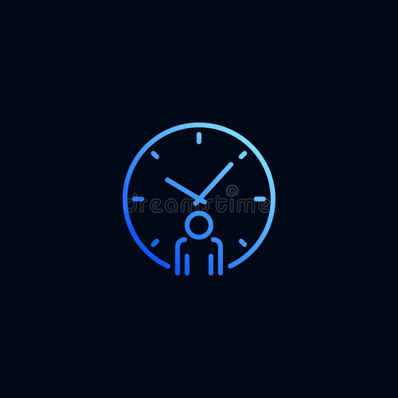 Geschäftsmann- und Uhrlinie Ikone Vektorillustration in der linearen Art vektor abbildung