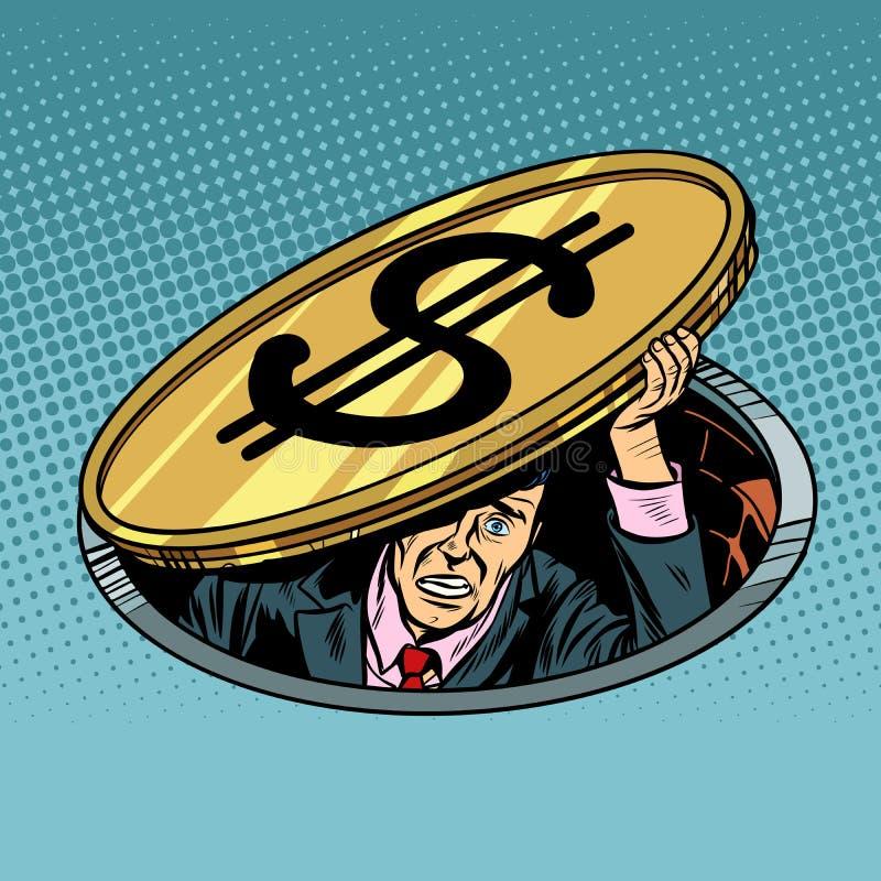Geschäftsmann unter dem Dollar, erschrocken und niedergedrückt stock abbildung
