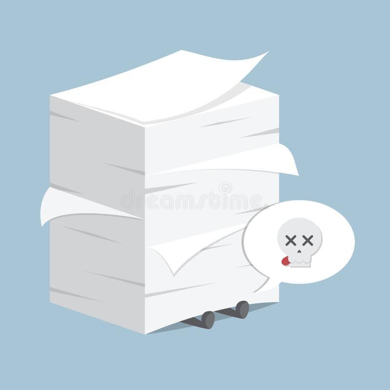 Geschäftsmann unter dem Stapel des Papiers lizenzfreie abbildung