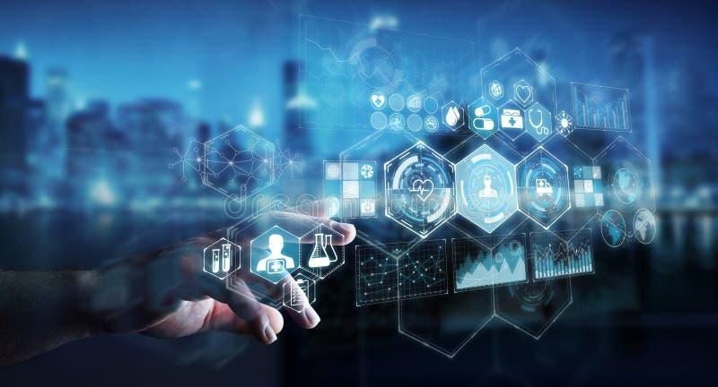 Geschäftsmann unter Verwendung der digitalen medizinischen Wiedergabe der Schnittstelle 3D stock abbildung