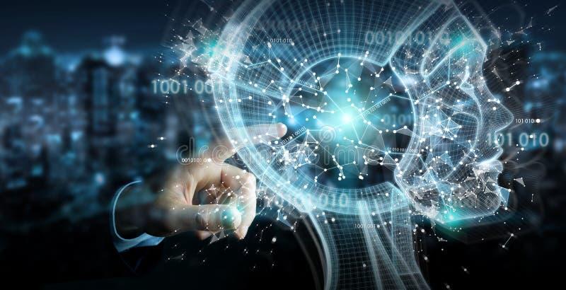 Geschäftsmann unter Verwendung der digitalen Schnittstelle 3D r der künstlichen Intelligenz vektor abbildung