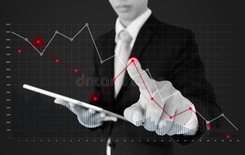Geschäftsmann unter Verwendung der digitalen Tablette und des zeigenfingers auf fallendem Diagrammdiagramm Geschäftsfinanzierung  stockbild