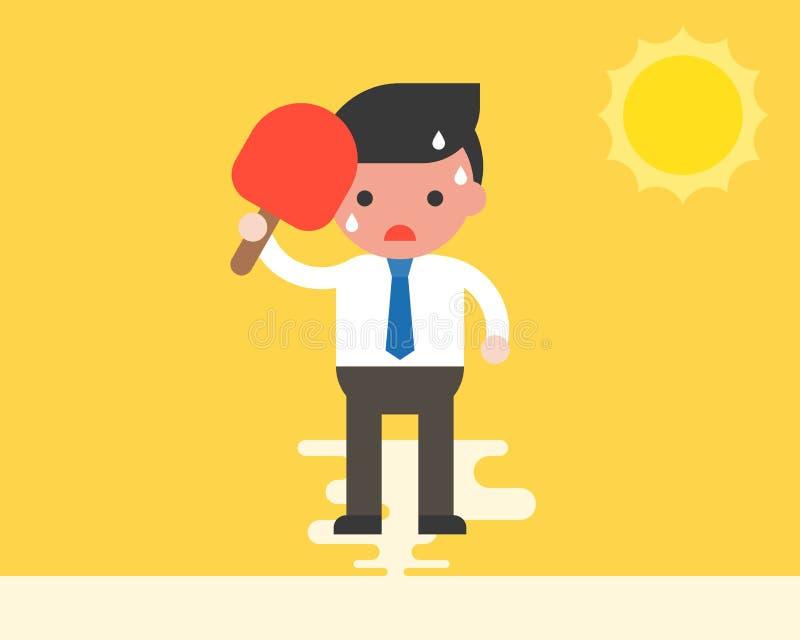 Geschäftsmann unter Verwendung des Handfans weil sehr heißes Wetter unter SU lizenzfreie abbildung