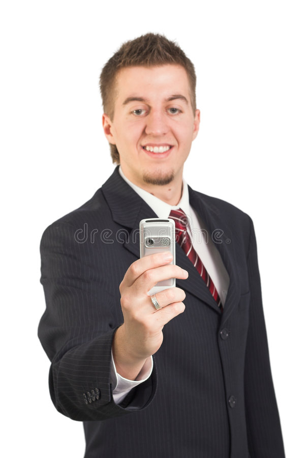 Geschäftsmann unter Verwendung des Handys stockfotos