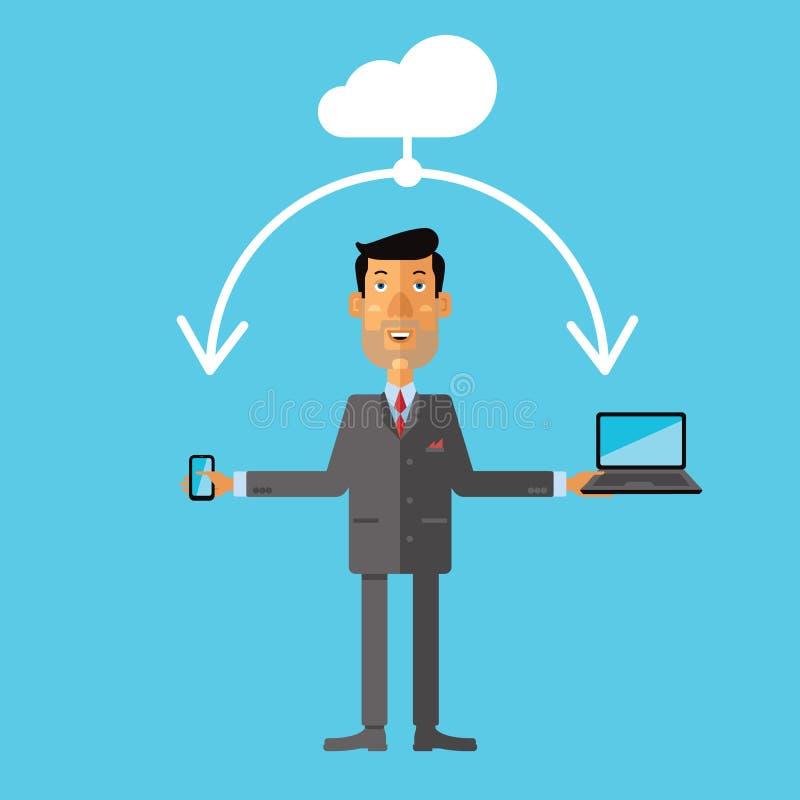 Geschäftsmann unter Verwendung des Wolkenspeichers für Smartphone und Laptop stock abbildung