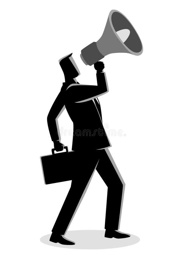 Geschäftsmann unter Verwendung eines Megaphons lizenzfreie abbildung