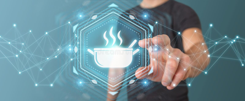 Geschäftsmann unter Verwendung nach Hause zu bestellen der Anwendung, machte Lebensmittel on-line--3D lizenzfreie abbildung