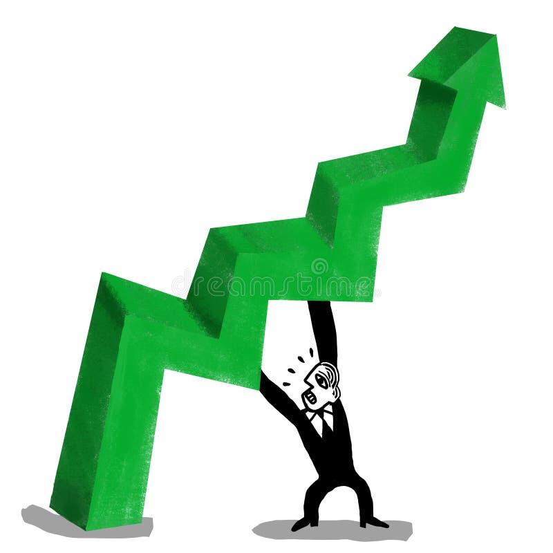 Geschäftsmann unterstützt den Pfeil der Wirtschaftlichkeit stock abbildung
