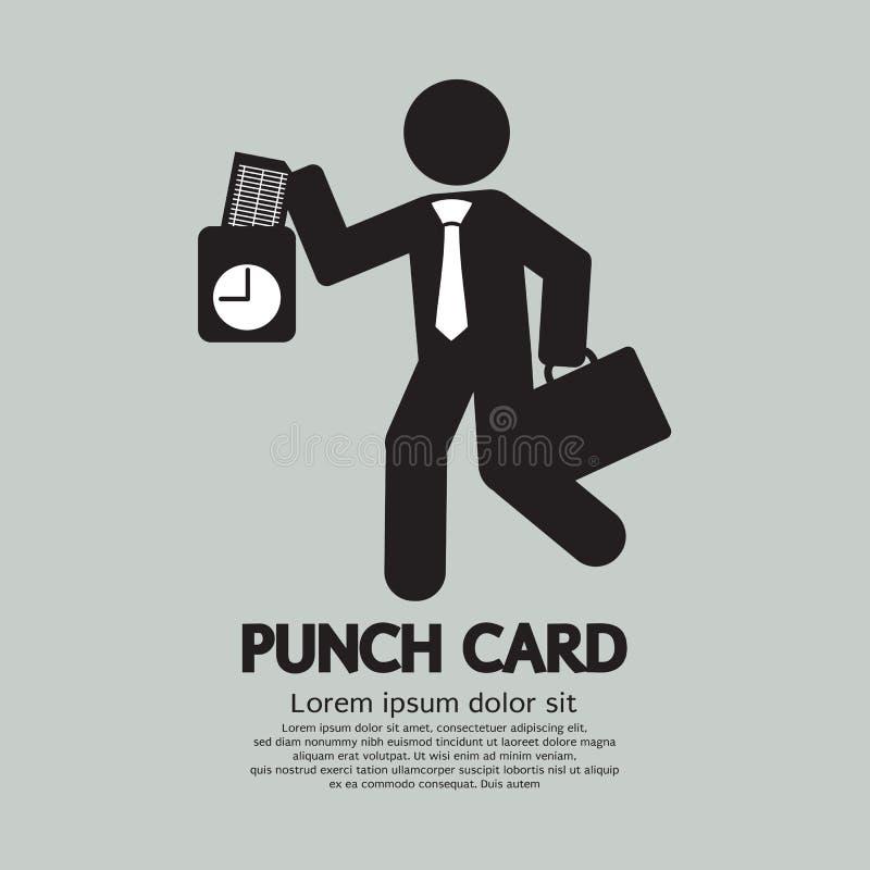 Geschäftsmann Using Punch Card für Zeit-Kontrolle lizenzfreie abbildung