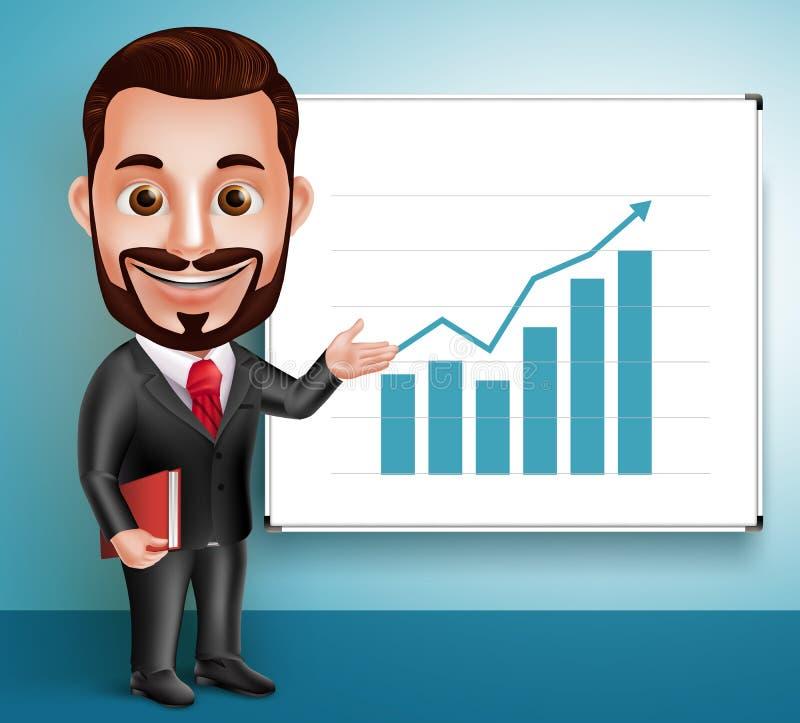 Geschäftsmann-Vektor-Charakter-glückliche sprechende und darstellende Diagramm-Darstellung vektor abbildung