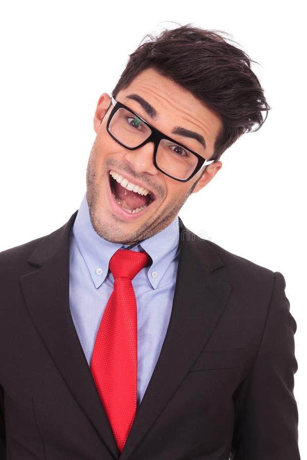 Geschäftsmann verrückt mit dem Mund geöffnet stockbilder