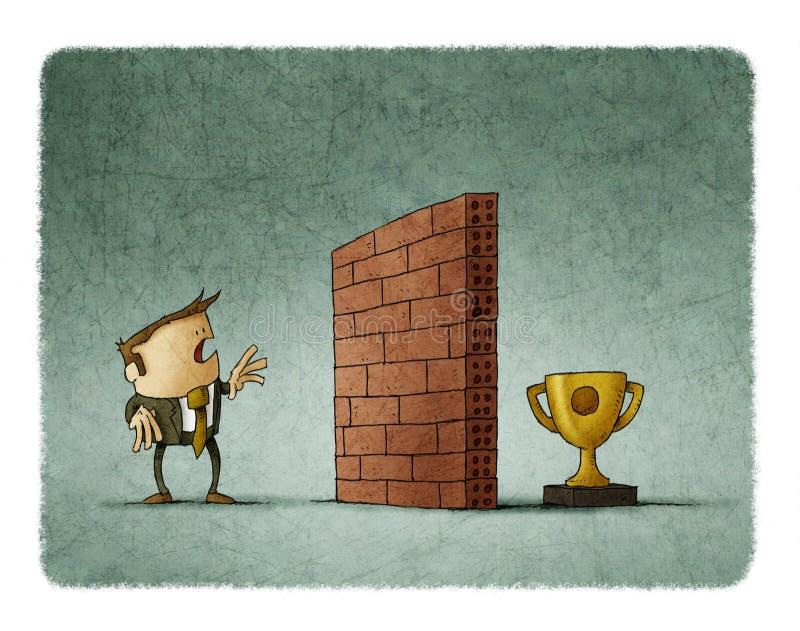 Geschäftsmann vor einer Backsteinmauer hat die Schwierigkeit, die sein Ziel erreicht lizenzfreie abbildung