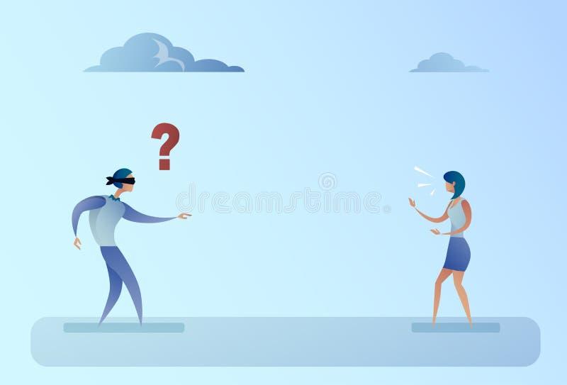 Geschäftsmann-Vorhänge durchschritten Weg auf Geschäftsfrau-Voice Direction Support-Konzept vektor abbildung
