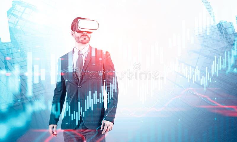 Gesch?ftsmann in VR-Kopfh?rer, virtuelles Diagramm lizenzfreie stockbilder