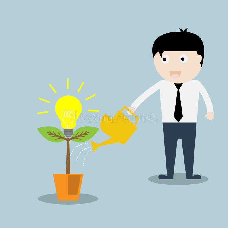 Geschäftsmann Wasser die Ideen-Anlage lizenzfreie abbildung