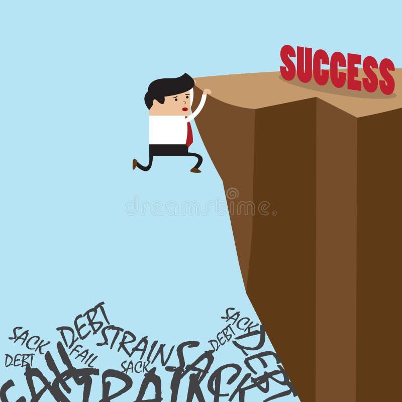 Geschäftsmann, wenn die Klippe zur Erfolgswahl oder -ausfall geklettert wird vektor abbildung