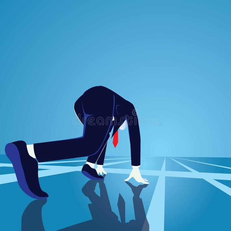 Geschäftsmann werden auf Anfangszeile fertig Beginnen des Karrierekonzeptes Geschäftsmann in der Ausgangsposition bereit, zu spri vektor abbildung