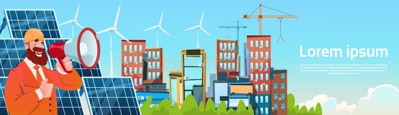 Geschäftsmann-Wind-Tribüne-Solarenergie-Platten-auswechselbare Stations-Darstellung lizenzfreie abbildung