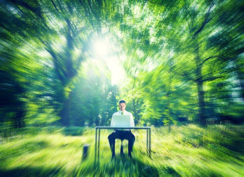 Geschäftsmann Working Computer Forest Green Concept lizenzfreies stockfoto