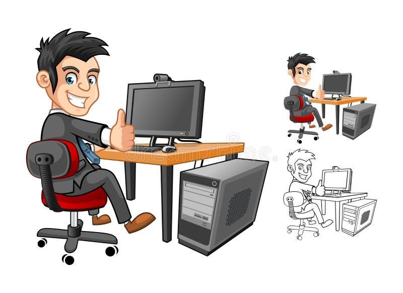 Geschäftsmann Working mit Computer-Zeichentrickfilm-Figur lizenzfreie abbildung