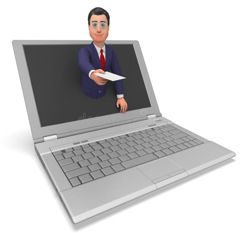 Geschäftsmann-Working Online Represents-World Wide Web und Geschäfte vektor abbildung