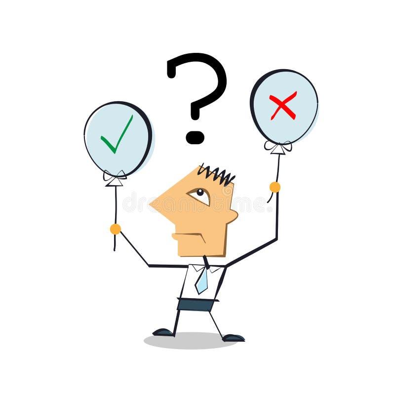 Geschäftsmann-Zeichentrickfilm-Figur, die Ballons mit ja oder nein hält vektor abbildung