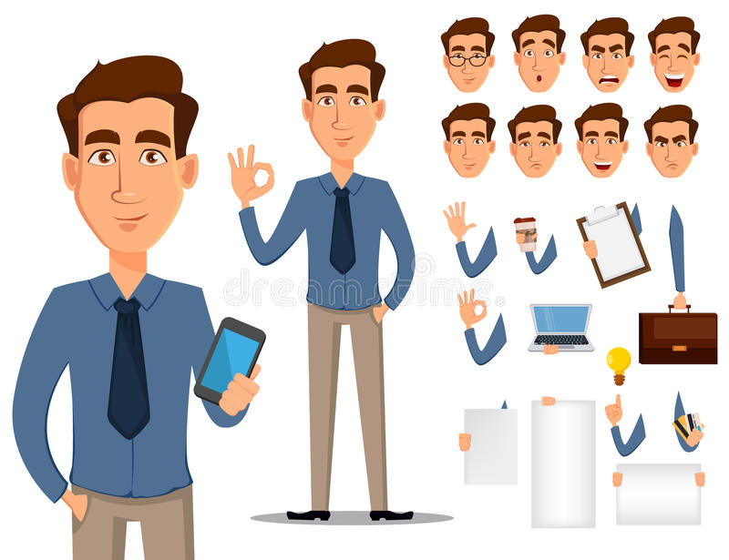 Geschäftsmann-Zeichentrickfilm-Figur-Schaffungssatz Junger hübscher lächelnder Geschäftsmann in der Büroart kleidet
