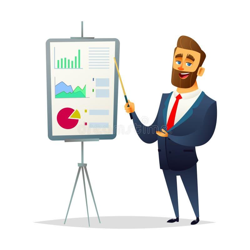 Geschäftsmann zeigt einen Finanzbericht Der Manager macht eine Darstellung Modernes flaches Design lizenzfreie abbildung