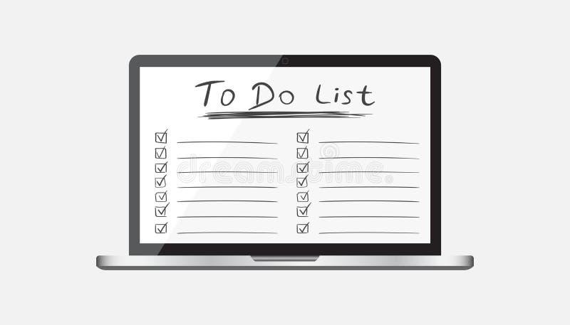 Geschäftsmann, zum der Liste, Checkliste zu tun mit Laptop-Computer Überprüfen Sie Li lizenzfreie abbildung