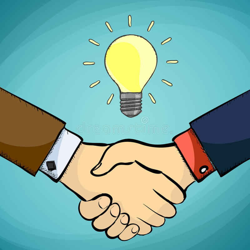 Geschäftsmann zwei, der Hände rüttelt Symbol der Partnerschaft Vect auf Lager stock abbildung