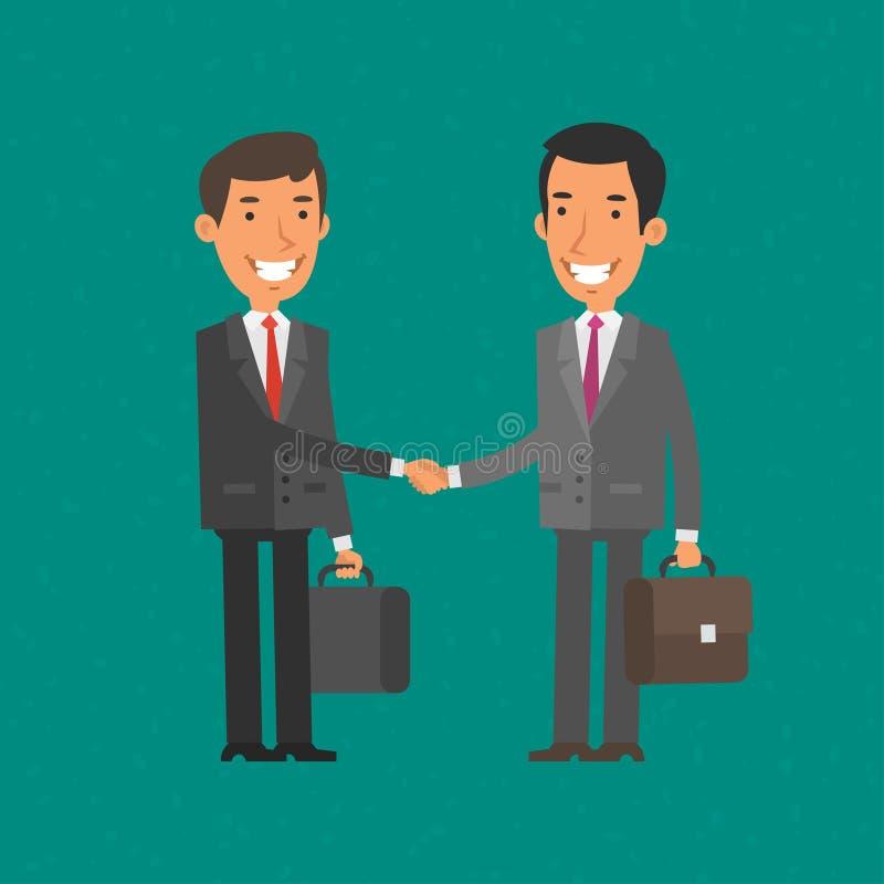 Geschäftsmann zwei rütteln Hände und Lächeln vektor abbildung