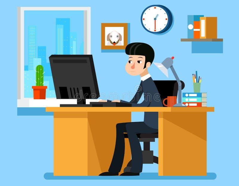 Geschäftsmannarbeitsbüro am Schreibtisch mit Computer Vektorillustration in der flachen Art lizenzfreie abbildung