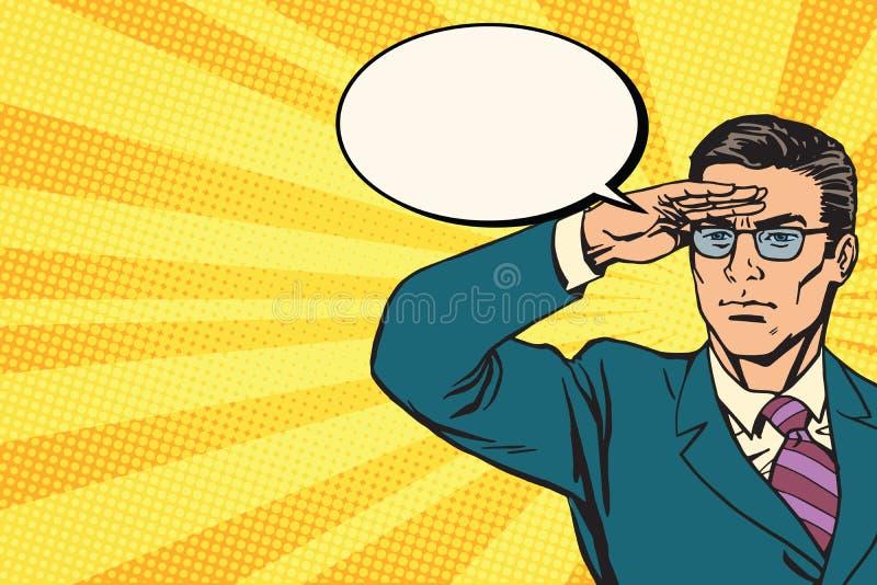 Geschäftsmannausblickkonzept-Geschäftspop-art Retro- stock abbildung