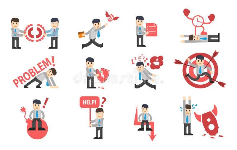 Geschäftsmannausfall-Charakterentwurfssatz ?ollection von Geschäftsgeschichten moderne Vektorillustration der flachen Art stock abbildung