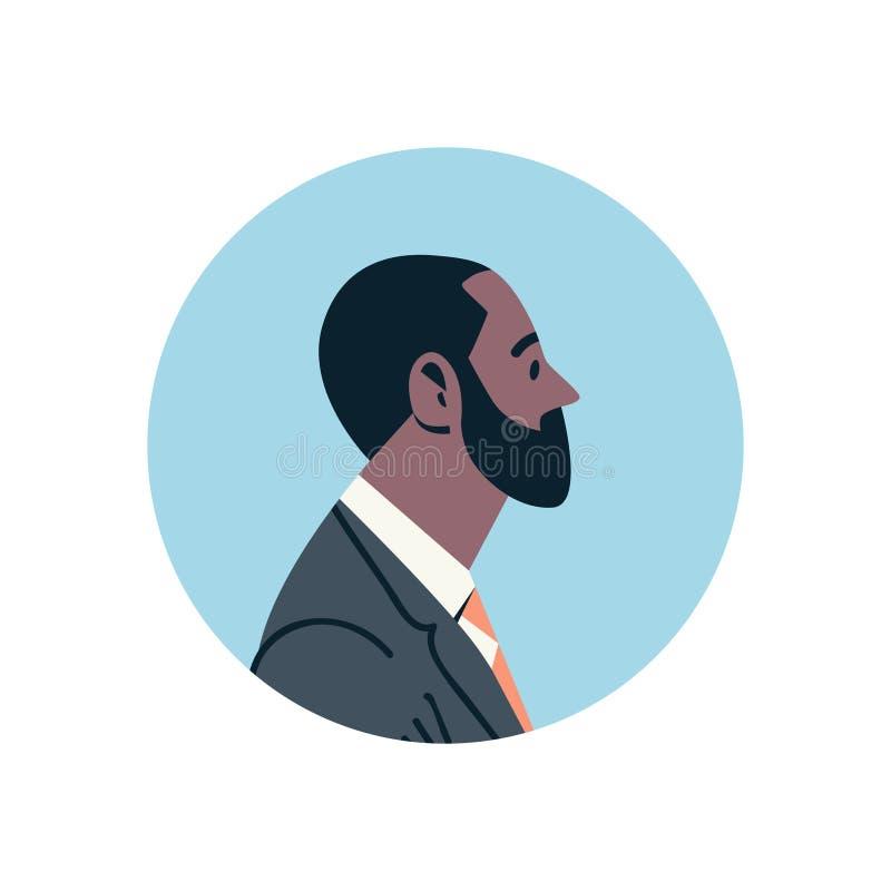 Geschäftsmannavataramanngesichtsprofilikonenkonzeptes des Afroamerikaners Beistandsservice-Manneszeichentrickfilm-figur des bärti stock abbildung