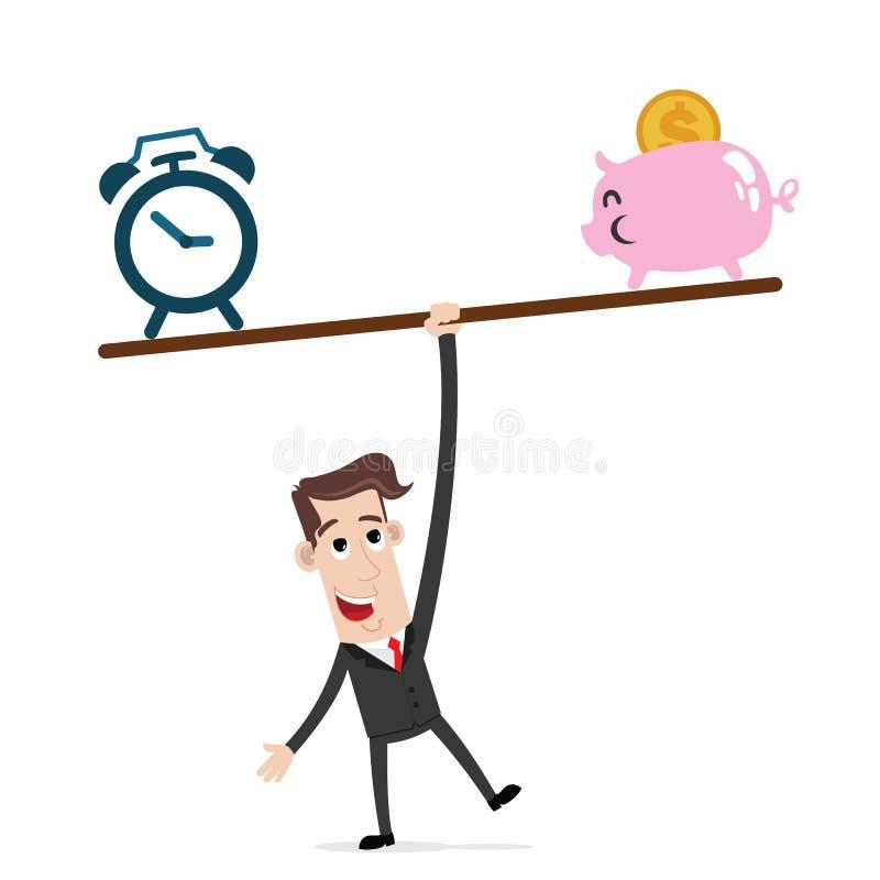 Geschäftsmannbalance ein ständiges Schwanken mit Uhr und Sparschwein lizenzfreie abbildung