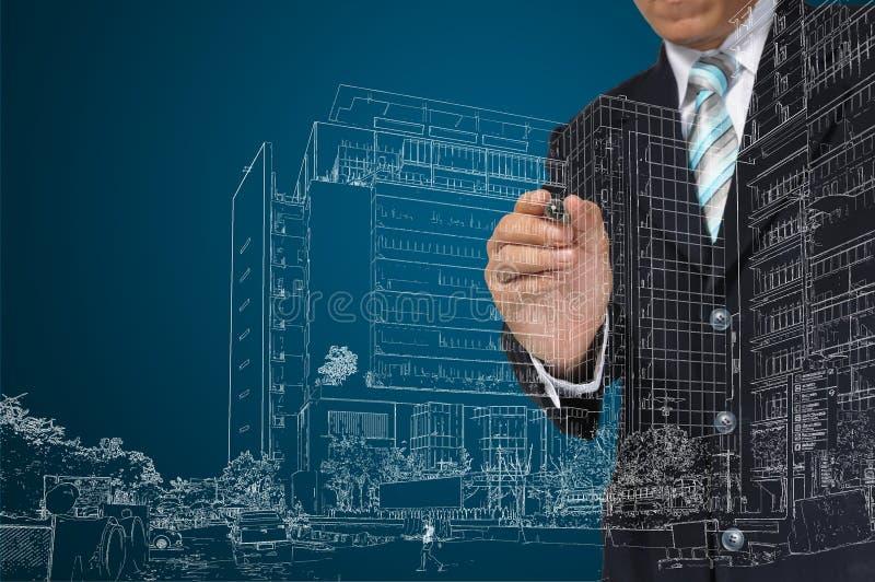 Geschäftsmannbetraggebäude und -Stadtbild stockbild
