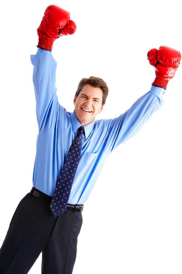 Geschäftsmannboxer stockbild