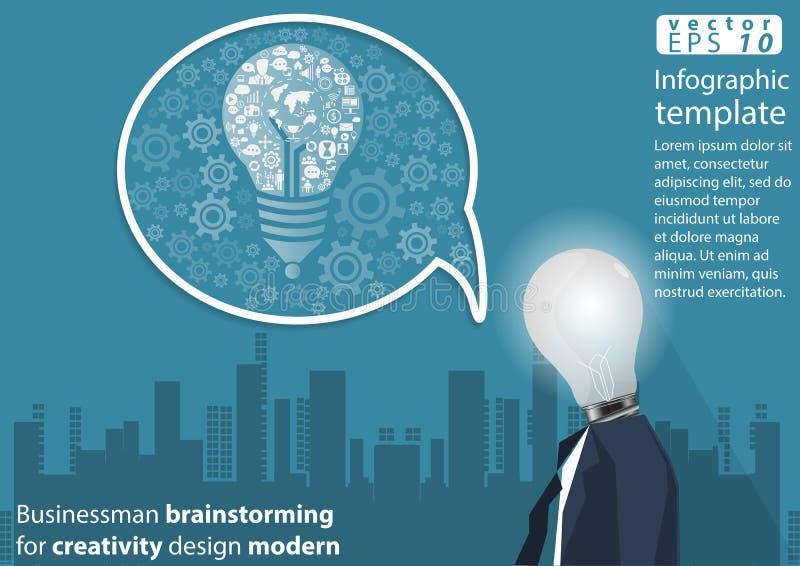 Geschäftsmannbrainstorming für Kreativitätsdesign moderne Idee und Konzept Vector Illustration Infographic-Schablone mit Ikone stock abbildung