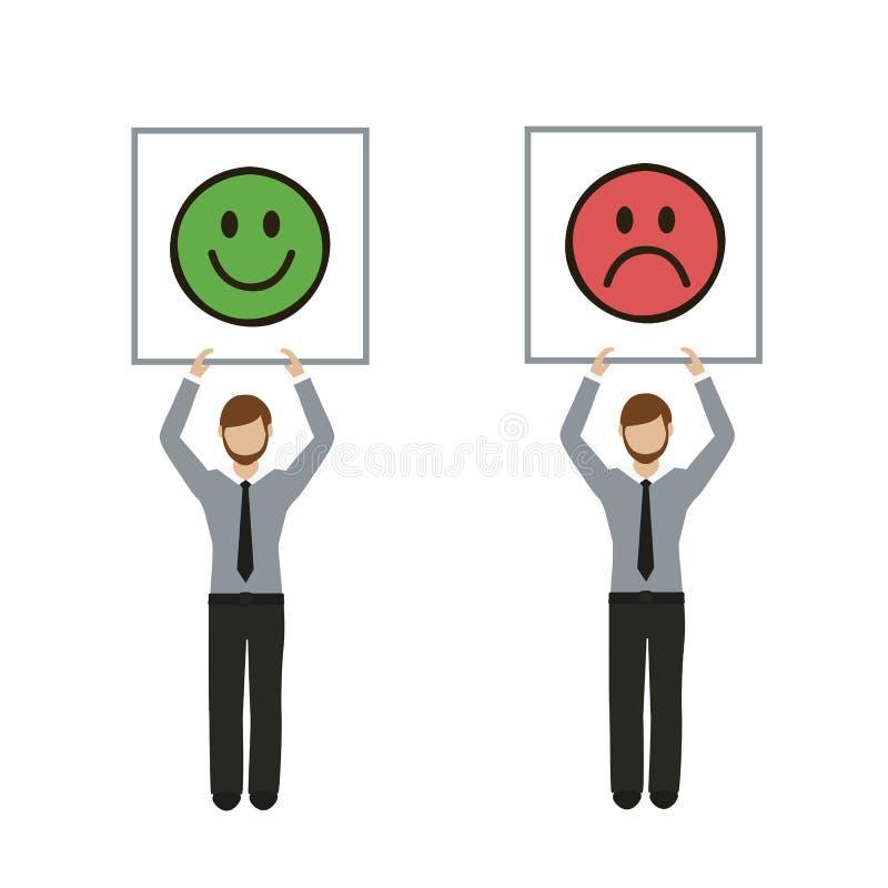 Geschäftsmanncharakter mit traurigem und glücklichem Emoticonfeedbackzeichen lizenzfreie abbildung
