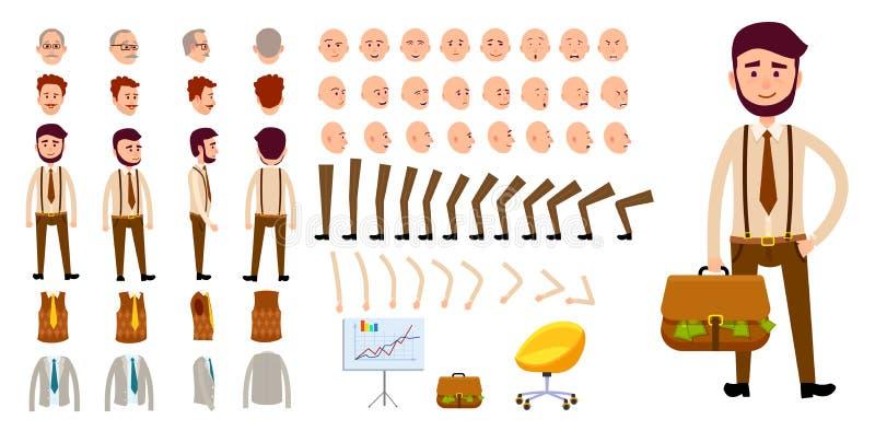 Geschäftsmanncharakter-Schaffungssatz Karikaturdesign vektor abbildung