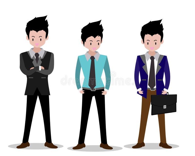 Geschäftsmanncharaktere Geschäftskonzeptwachstum, -bemühung und jenseits -gehen, kühle Hintergrund Vektorillustration Überlagert, lizenzfreies stockfoto