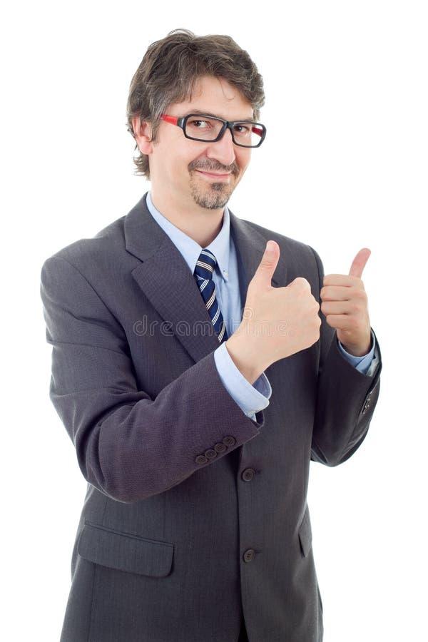 Geschäftsmanndaumen oben lizenzfreies stockfoto