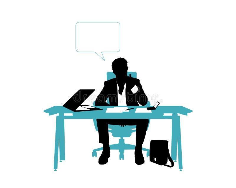 Geschäftsmanndenken gesetzt in seinem Schreibtisch lizenzfreie abbildung