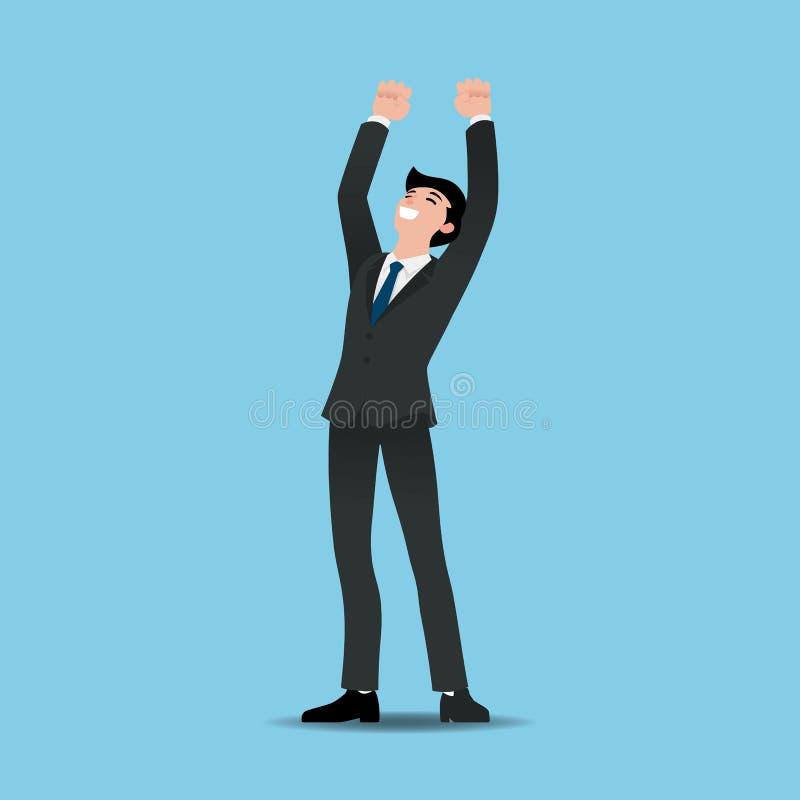 Geschäftsmannführungskräfte feiern sein erfolgreiches und heben Hände mit den geballten Fäusten oben über Köpfen an stock abbildung