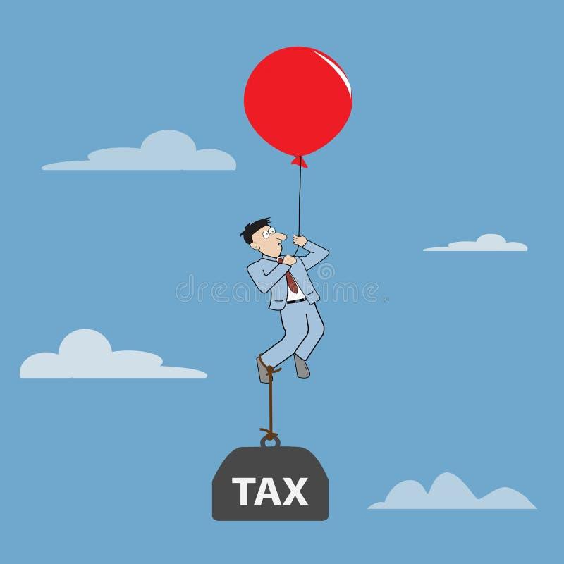 Geschäftsmannfliegen durch die Anwendung des Ballons mit Belastungssteuer lizenzfreie abbildung