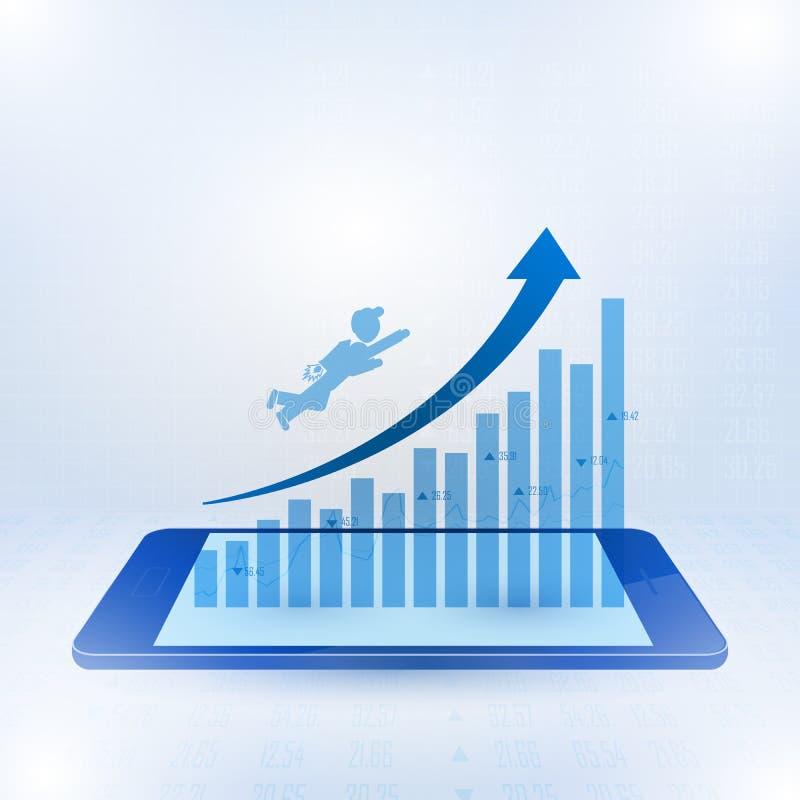 Geschäftsmannfliegen in Richtung zur Spitze des Geschäftsdiagramms stock abbildung