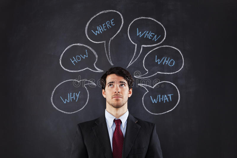 Geschäftsmannfragen stockfoto