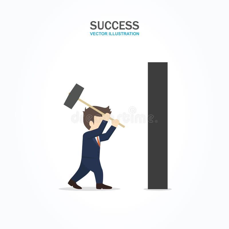 Geschäftsmanngebrauch ein Hammer, die Wand zu brechen stock abbildung