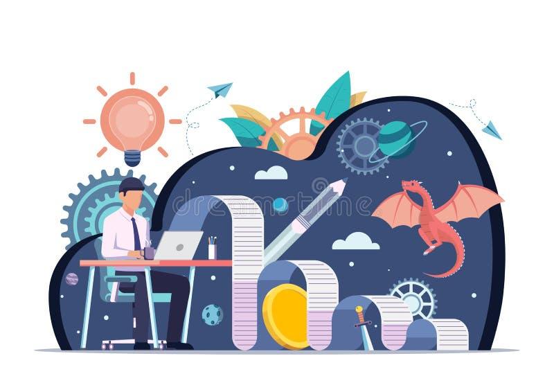 Geschäftsmanngebrauchslaptop zum Schreiben des kreativen Inhalts für Geschäft lizenzfreie abbildung